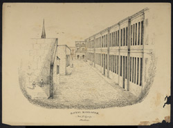 The interior of Fort St George with officers playing fives and the steeple of St Mary's Church beyond the barracks. Worked up from an earlier sketch of July 1838